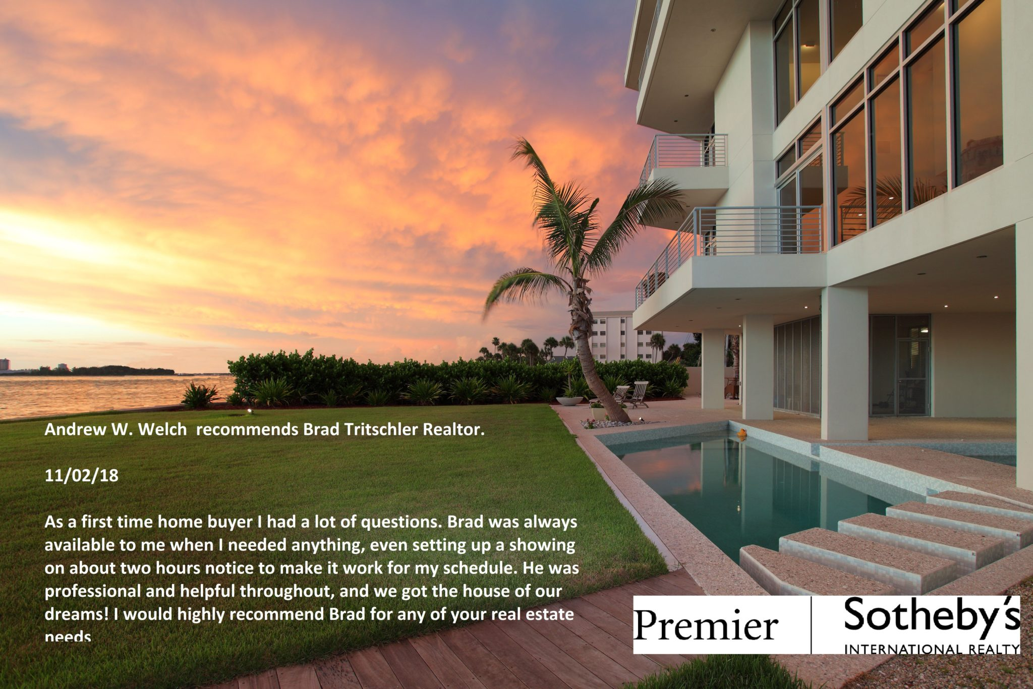 Latest Customer Review, Nokomis, FL / First time home Buyer