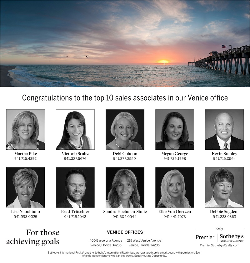 Venice Gondolier Ad January 22, 2020. Thank you Premier Sotheby's International Realty for acknowledge its top associates.
